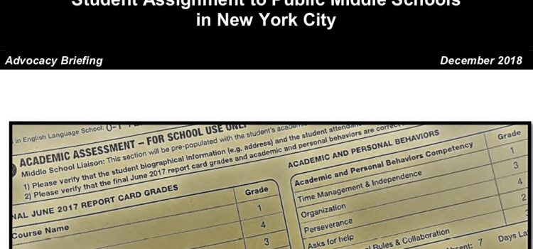 New York Appleseed Releases New Advocacy Briefing on Middle School Admissions